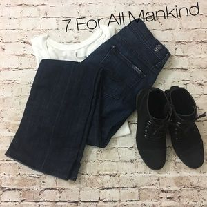 7FAM   bootcut Dark wash mid rise denim jeans